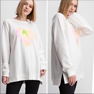 EASEL | Off White heart relaxed fit sweatshirt